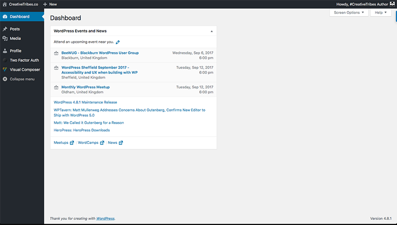 #CreativeTribes Author Dashboard Using Adminimize
