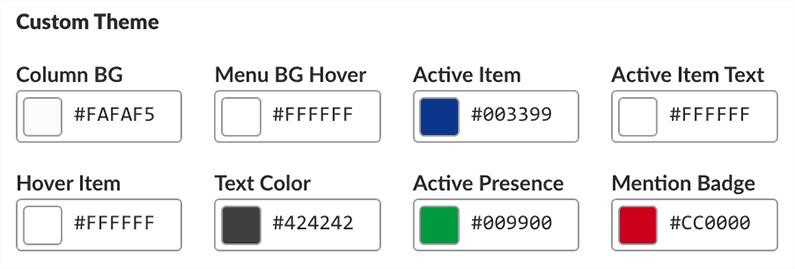 Slack Custom Theme Colors
