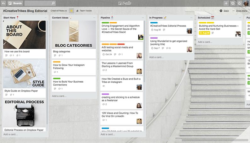#CreativeTribes Blog Editorial Board on Trello